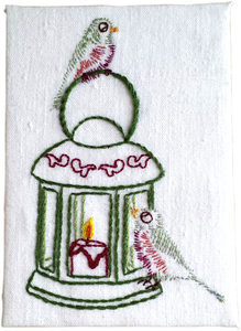 Christmas Card, Lantern with Birds
