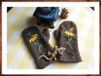 Felted and Embroidered Mittens
